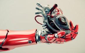 Картинка heart, hand, robotics