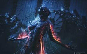 Обои огонь, пламя, женщина, робот, audio android, Antoine Collignon
