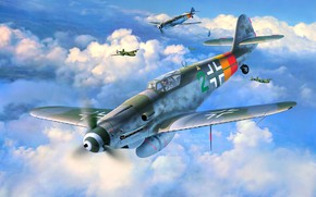 Картинка Luftwaffe, Germany, Bf.109G-10, WW2, Messerschmitt, Fighter, aircraft, Painting