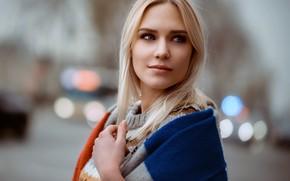 Картинка photo, face, girl, straight hair, Eva Mikulski, blue eyes, mouth, sweater, looking away, blonde, model, …