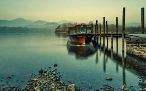 Картинка горы, озеро, лодка, Англия, причал, Кесвик