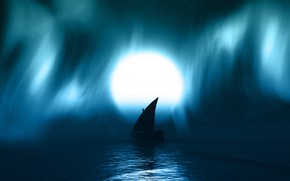 Обои moon, watter, night, dark, boat, blue, full hd