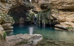 Картинка озеро, скалы, пещера, грот