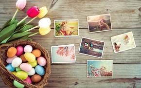 Картинка цветы, flowers, eggs, tulips, Пасха, pink, wood, фото, decoration, Happy, spring, tender, тюльпаны, яйца, Easter, …
