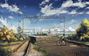 Картинка небо, асфальт, облака, велосипед, столбы, провода, рельсы, дома, станция, Япония, железная дорога, ступени, школьница, платформа, …