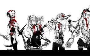 Картинка волк, банда, киберпанк, ястреб, бензопила, снайперская винтовка, убийцы, бинты, близнецы, филин, пятеро, красная камелия, супер-оружие
