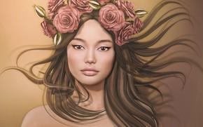 Обои цветы, лицо, девушка, фон, волосы