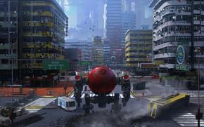 Картинка город, робот, перекрёсток, preprod mech kevine, Game prototype