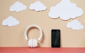 Картинка облака, Музыка, наушники, телефон