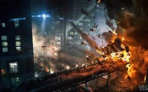 Картинка взрыв, город, огонь, Maze Runner, Death Cure Action shots
