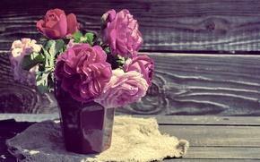 Обои pink, flowers, wood, розовые, beautiful, розы