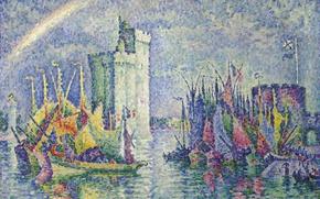 Картинка пейзаж, корабль, радуга, картина, парус, Поль Синьяк, пуантилизм, Ла-Рошель. Порт