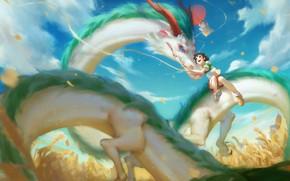 Картинка дракон, аниме, арт, девочка, Тихиро, Spirited Away, Хаку, sairen J., унесённые призраками