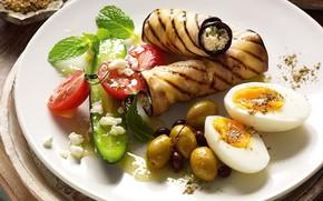 Картинка яйцо, баклажан, оливки, салат, рулетики