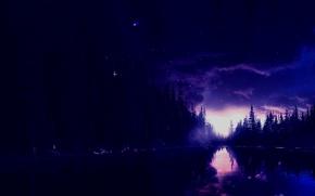Картинка грусть, ночь, природа, озеро