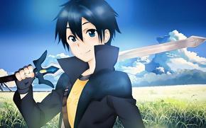 Картинка меч, аниме, арт, Мастера меча онлайн, Sword Art Online, Кирито