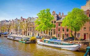 Обои река, весна, лодки, Амстердам, Amsterdam, old, spring, buildings, Netherlands, boat, canal