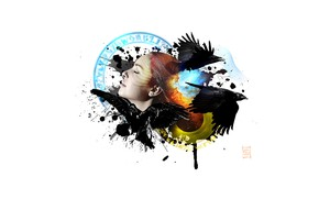 Картинка лицо, крылья, вороны, кляксы