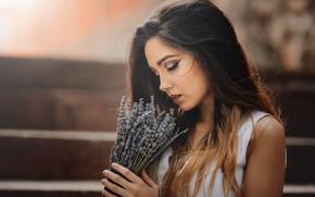 Картинка девушка, цветы, портрет, Laulight