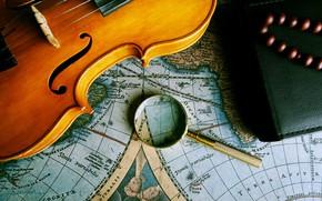 Картинка map, violin, magnifying glass