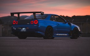 Обои вечер, Nissan, Skyline, Trevor Ryan