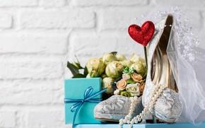 Картинка подарок, туфли, бусы, фата, свадьба, букет невесты, Valeria Aksakova
