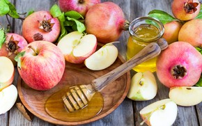 Картинка яблоки, зерна, мед, банка, фрукты, гранат