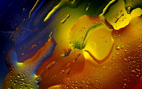 Обои капли, масло, стекло, абстракция, макро