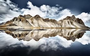 Картинка reflection, iceland, Vestrahorn Islande