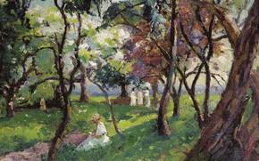 Картинка пейзаж, картина, The Family at the Park of Salvar Nievre, Emmanuel De La Villion