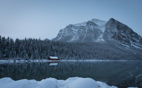 Обои Озеро Луиз, Национальный парк Банф, Альберта, озеро, Canada, Alberta, Канадские Скалистые горы, снег, Canadian Rockies, ...
