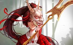 Картинка оружие, прическа, серый фон, красные глаза, красная лента, Akali, League of Legends, Лига Легенд, маска …