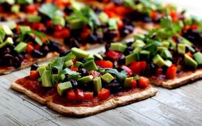 Картинка овощи, пицца, wood, маслины, начинка