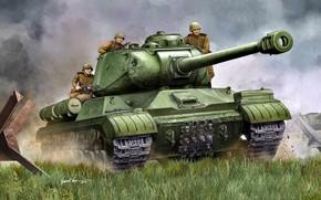 Картинка Рисунок, СССР, Танк, Тяжёлый, Советская Армия, ИС-2М, Противотанковый ёж, Cолдаты