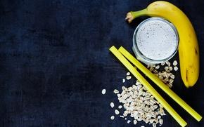 Картинка стакан, еда, завтрак, банан, йогурт, овсянка, Yuliya Gontar