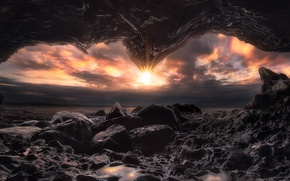 Картинка море, солнце, свет, природа, скалы