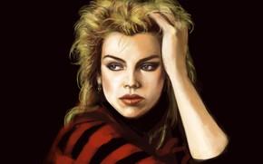 Картинка рисунок, портрет, ди-джей, арт, черный фон, британская, Kim Wilde, Ким Уайлд, поп-певица