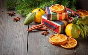 Картинка украшения, елка, апельсин, Новый Год, Рождество, подарки, корица, happy, Christmas, vintage, wood, orange, New Year, …