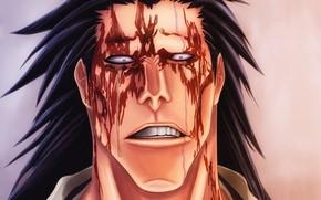 Картинка blood, Bleach, anime, fight, face, asian, manga, Zaraki Kenpachi, shinigami, Gotei 13, Soul Society, god …