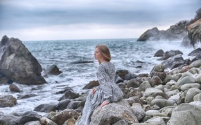 Картинка море, девушка, поза, платье, Dmitry Levykin, Мария Мартиянова