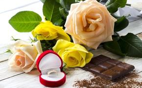 Картинка шоколад, розы, кольцо, сладкое, chocolate, ring, roses