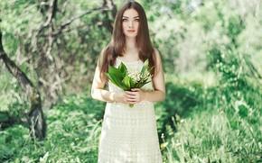 Картинка девушка, фото, весна, красивая, ландыши