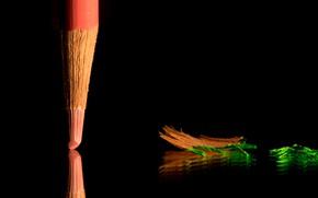 Картинка отражение, стол, карандаш, опилки, грифель