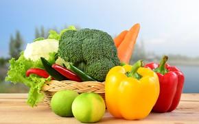Картинка стол, фон, перец, корзинка, овощи, морковь, капуста, боке, салат
