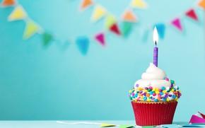 Картинка свеча, colorful, крем, Happy Birthday, cupcake, decoration, День Рождения, кексик, holiday celebration