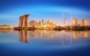 Обои море, пейзаж, lights, огни, небоскребы, Сингапур, архитектура, мегаполис, blue, night, fountains