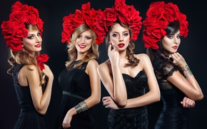 Обои flowers, girls, Amadeus, Amadeus Electric Quartet