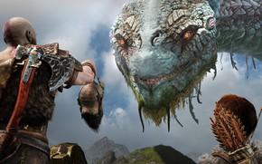 Картинка люди, игра, голова, змей, God of War 4 (2018)