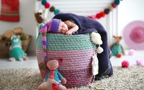 Картинка игрушки, сон, мальчик, спит, шапочка, младенец