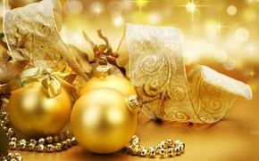 Картинка золото, подарок, новый год, шар, лента